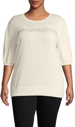 Laundry by Shelli Segal Plus Front-Lace Cotton-Blend Sweater