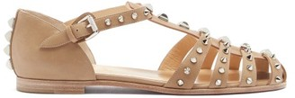 Christian Louboutin Loubiclou Studded Caged Leather Sandals - Beige