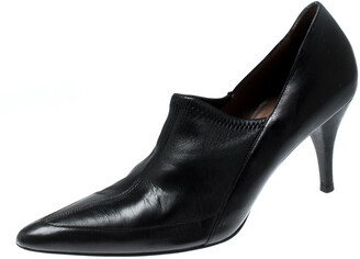Gucci Black Leather Pointed Toe Loafer Pumps Size 38