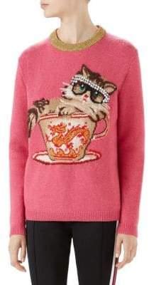 Gucci Long Sleeve Wool Cat Tea Cup Pearl Sweater