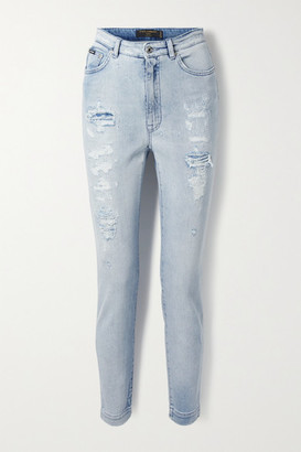 Dolce & Gabbana Distressed High-rise Skinny Jeans - Light blue