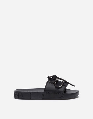 Dolce & Gabbana Beachwear Sliders In Rubber And Neoprene