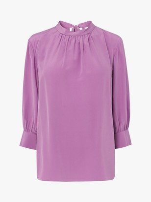 LK Bennett Anderson Silk Bow Back Blouse, Lilac