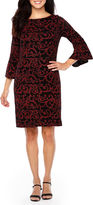 Jessica Howard Long Sleeve Scroll Shift Dress