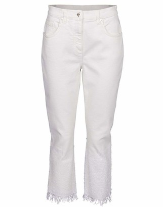 Blumarine Sequin Degrade Hem Cropped Jean