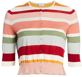 Akris Punto Striped Half-Sleeve Cardigan
