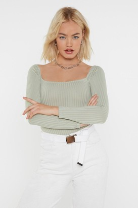 Nasty Gal Womens Square to Me Ribbed Bodysuit - Green - 8