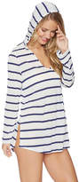 Splendid Navy Stripe Hooded Split-Hem V-Neck Cover-Up Tunic