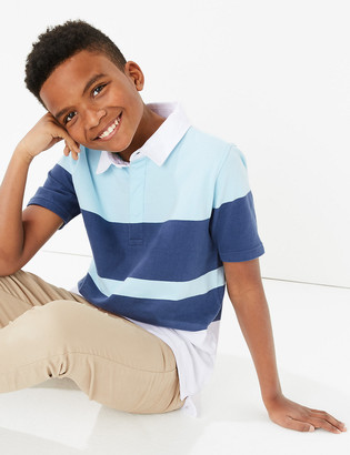 Marks and Spencer Cotton Colour Block Rugby Top (6-16 Yrs)