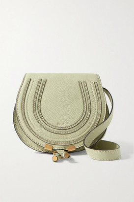 Chloé Marcie Mini Textured-leather Shoulder Bag - Gray green