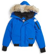 Canada Goose Boy's 'Pbi Chilliwack' Hooded Bomber Jacket With Genuine Coyote Fur Trim