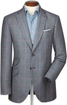 Charles Tyrwhitt Classic Fit Blue Prince Of Wales Checkered Luxury Border Tweed Wool Jacket Size 36