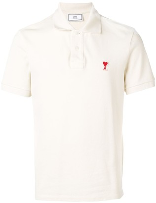 Ami Paris Short Sleeve Polo Shirt With Red De Coeur Patch