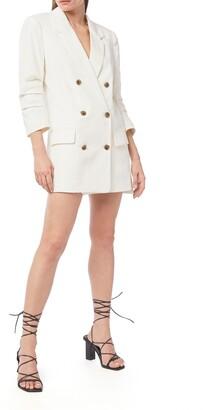 Frame Pleated Sleeve Linen Blend Blazer Minidress