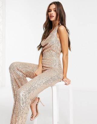Goddiva cowl-neck embellished jumpsuit in champagne