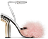 Marco De Vincenzo Feather-embellished Satin And Metallic Leather Sandals - Silver