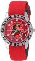 Disney Girl's 'Elena of Avalor' Quartz Plastic and Nylon Casual Watch, Color:Red (Model: WDS000277)