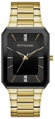 Bulova Wittnauer Men's WN3092 Goldtone Diamond Accent Black Case Bracelet Watch - N/A