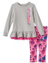 Puma Baby Girl Ruffled Tee & Floral Leggings Set
