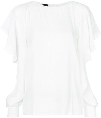 Pinko slit frill trim sleeves blouse