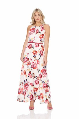 Roman Originals Womens Floral Belted Maxi Dress - Ladies Summer Daytime Sleeveless Wedding Guests Outfits Royal Ascot Elegant Dresses - Pink - Fuchsia - Size 14
