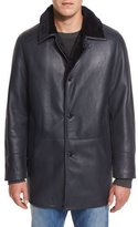 Gallotti Shearling Fur-Lined Leather Jacket, Navy