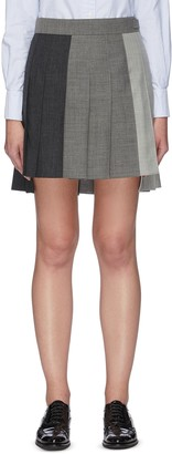 Thom Browne Contrast panel dropped back pleated skirt