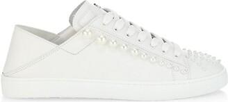 Stuart Weitzman Goldie Convertible Embellished Leather Sneaker
