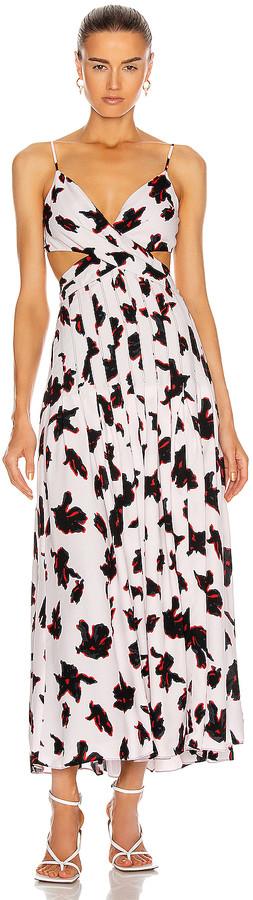 Proenza Schouler Sleeveless Maxi Dress in Powder Pink & Red Painted Iris | FWRD