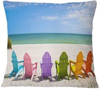 "Adirondack Design Art Usa Beach Chairs Seashore Photo Throw Pillow, 16""x16"""