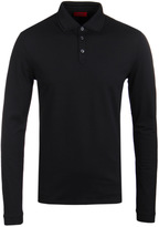 Hugo Dirage Black Double Collar Long Sleeve Polo Shirt