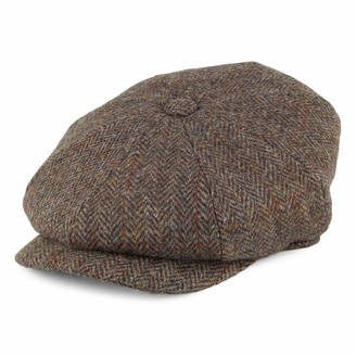 Jaxon & James Harris Tweed Northbay Newsboy Cap - Olive-Brown L