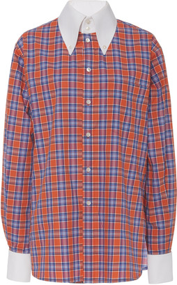 Marc Jacobs Pique-Collar Plaid Cotton Button-Front Shirt