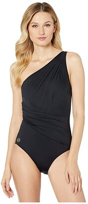 MICHAEL Michael Kors Solids One Shoulder Shirred One-Piece