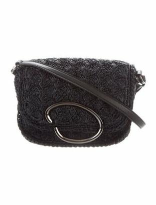 Oscar de la Renta Raffia Crossbody Bag Black