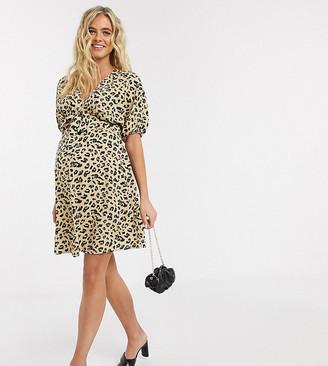 ASOS DESIGN Maternity tie front mini tea dress in leopard print