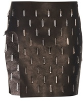 Anthony Vaccarello Open-leg embellished leather skirt