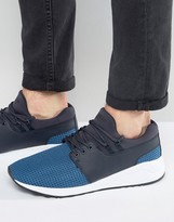 Pull&bear Faux Leather Runner Trainers In Blue