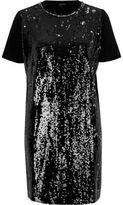 River Island Womens Black sequin oversized T-shirt dress