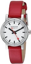 Mondaine evo2 petite 26mm sapphire Watch with St. Steel polished Case white Dial and red leather Strap MSE.26110.LC