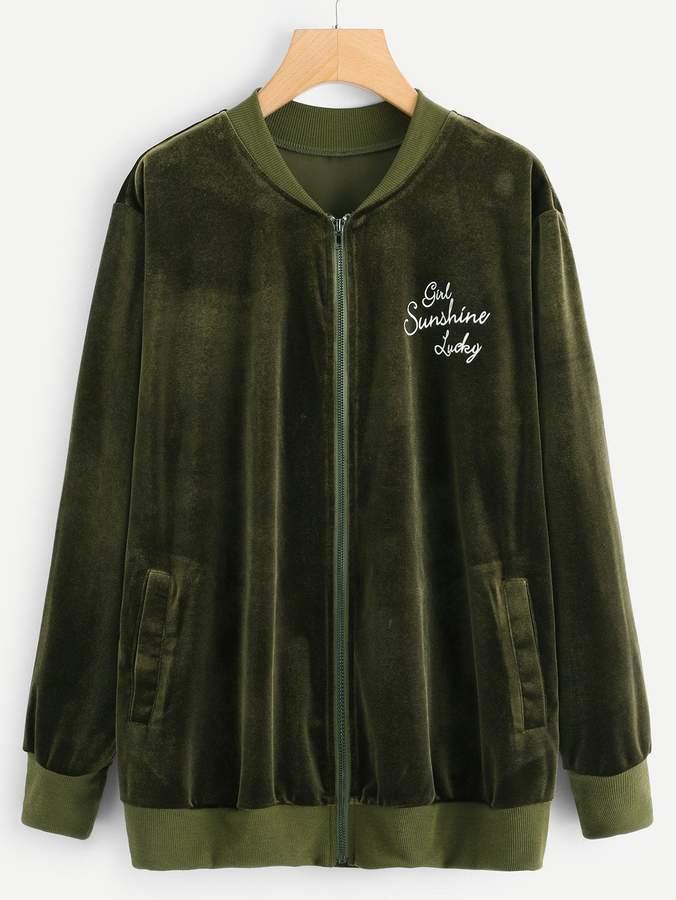Plus Letter Print Bomber Velvet Jacket