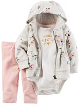 "Carter's Baby Girl Floral Cardigan, ""Pretty & Perfect"" Bodysuit & Pants Set"