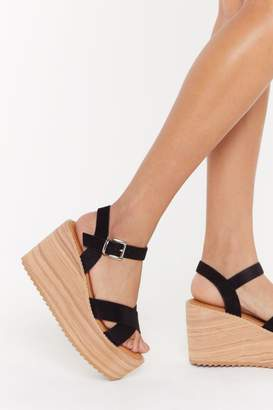 Nasty Gal Womens Living On The Wedge Faux Suede Wedges - Black - 4