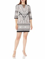 Thumbnail for your product : Sandra Darren Women's 1 PC 3/4 Sleeve Printed ITY Puff Shift Dress