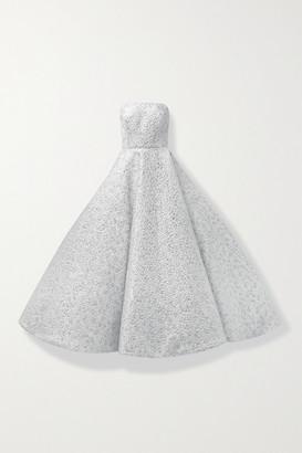 Oscar de la Renta Strapless Metallic Brocade Gown - Silver