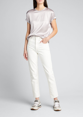 Brunello Cucinelli Silk Satin Keyhole-Back Blouse