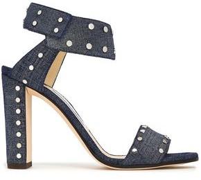 Jimmy Choo Veto 100 Studded Denim Sandals