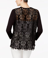 Alfani Petite Lace-Back Cardigan, Only at Macy's
