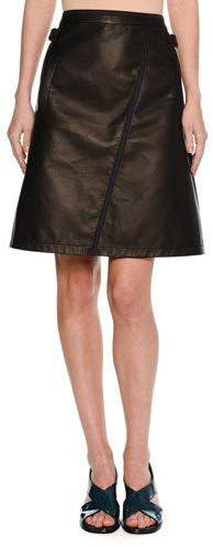 Tomas Maier Leather A-Line Miniskirt with Taping, Black