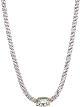 Effy Sterling Silver 18K Yellow Gold Green Amethyst Necklace